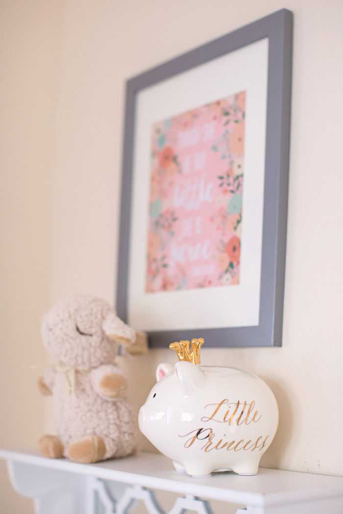lifestyle, newborn, photography, session, photo shoot, houston, texas, kelli nicole photography, baby girl, nursery, color, piggy bank, lamb