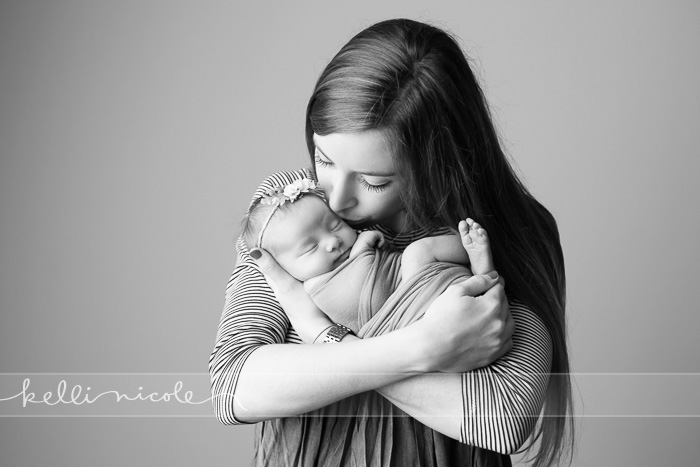 posed, newborn, photography, session, photo shoot, houston, texas, kelli nicole photography, baby girl, color, newborn photography, houston newborn photographer, studio, newborn girl, neutrals, newborn posing, mom, new mom, mom and newborn, black and white