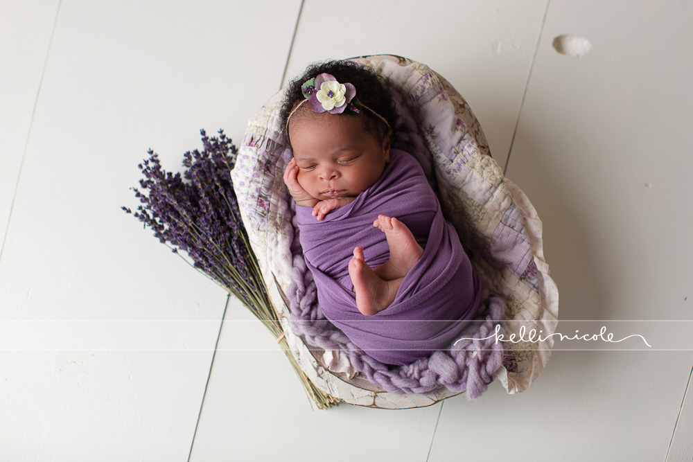 posed, newborn, photography, session, photo shoot, houston, texas, kelli nicole photography, baby girl, color, newborn photography, houston newborn photographer, studio, newborn girl, newborn posing, colorful newborn, white flooring, purple, lavender, dried lavender