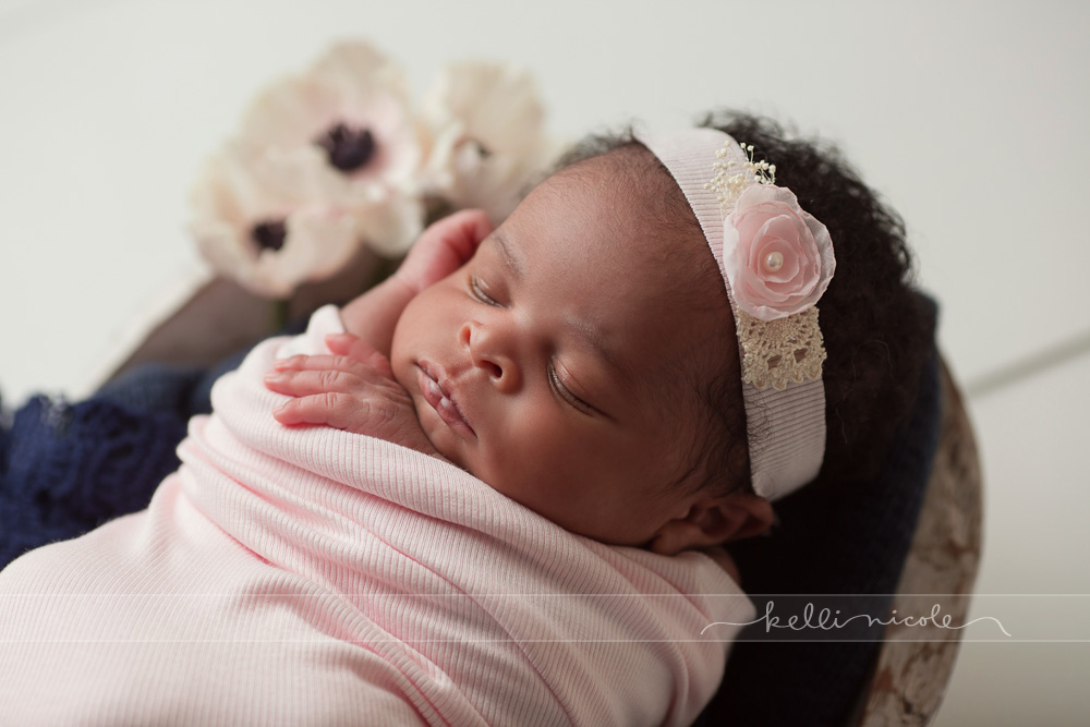 posed, newborn, photography, session, photo shoot, houston, texas, kelli nicole photography, baby girl, color, newborn photography, houston newborn photographer, studio, newborn girl, newborn posing, colorful newborn, white flooring, pink and navy