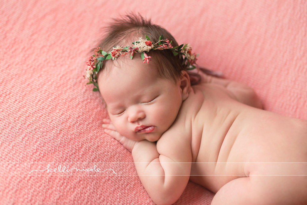 posed, newborn, photography, session, photo shoot, houston, texas, kelli nicole photography, baby girl, color, newborn photography, houston newborn photographer, studio, newborn boy, newborn posing, newborn photography tutorial, studio newborn lighting, paul c buff einstein lighting, baby girl, pink newborn, pink backdrop, floral crown