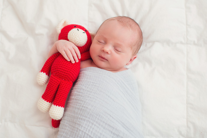 lifestyle, newborn, photography, session, photo shoot, houston, texas, kelli nicole photography, baby boy, red monkey, hug, swaddled