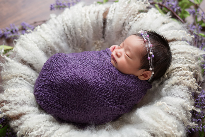 posed, newborn, photography, session, photo shoot, houston, texas, kelli nicole photography, baby girl, color, newborn photography, houston newborn photographer, studio, newborn girl, purple, wrapped newborn, swaddled, newborn posing,