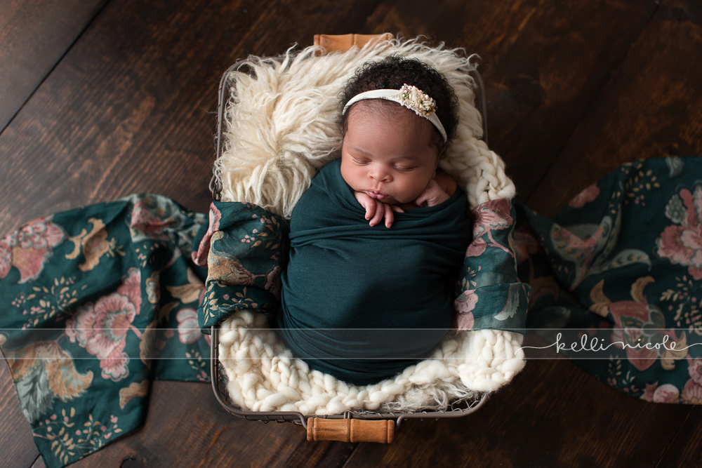 posed, newborn, photography, session, photo shoot, houston, texas, kelli nicole photography, baby girl, color, newborn photography, houston newborn photographer, studio, newborn girl, newborn posing, colorful newborn, green, flokati