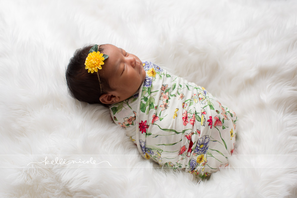 posed, newborn, photography, session, photo shoot, houston, texas, kelli nicole photography, baby girl, color, newborn photography, houston newborn photographer, studio, newborn boy, newborn posing, newborn photography tutorial, studio newborn lighting, paul c buff einstein lighting, white fur, white background