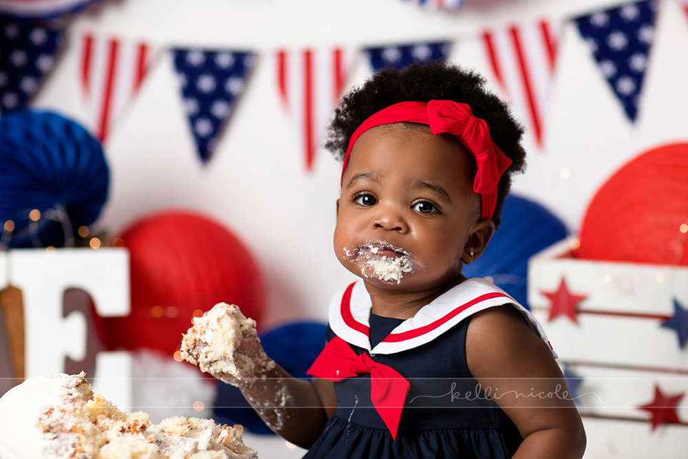 posed, children, photography, session, photo shoot, houston, texas, kelli nicole photography, baby girl, color, baby photography, houston baby photographer, studio, baby girl, child posing, baby photography tutorial, studio baby lighting, paul c buff einstein lighting, houston family photography, white backdrop, cake smash photography session, white studio, white studio houston, children, cake smash, 4th of july, independence day, red white and blue